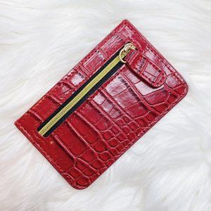 NEW Red Croc Zip Up Card Holder